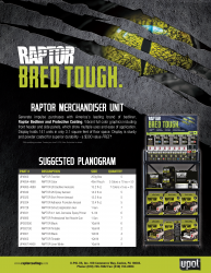 Raptor Merchandiser Suggested Planogram